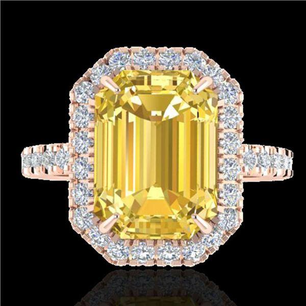 4.50 ctw Citrine & Micro Pave VS/SI Diamond Ring 14k Rose Gold - REF-40M9G