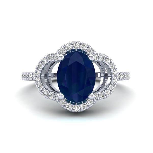 2 ctw Sapphire & Micro Pave VS/SI Diamond Certified Ring 10k White Gold - REF-32N2F