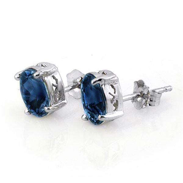 3.0 ctw Blue Sapphire Earrings 18k White Gold - REF-21X8A