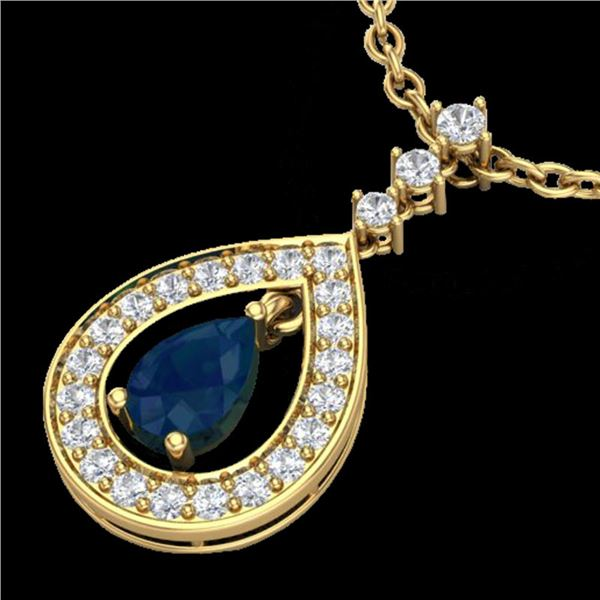 1.15 ctw Sapphire & Micro Pave VS/SI Diamond Necklace 14k Yellow Gold - REF-49X3A