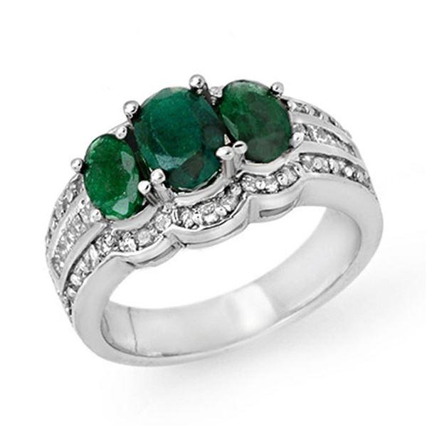 3.50 ctw Emerald & Diamond Ring 18k White Gold - REF-135W6H