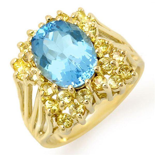 6.0 ctw Yellow Sapphire & Blue Topaz Ring 10k Yellow Gold - REF-41R3K