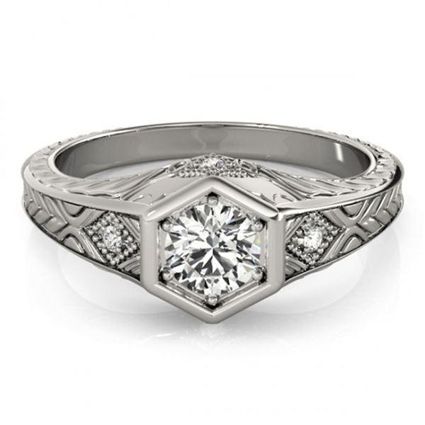 0.4 ctw Certified VS/SI Diamond Antique Ring 18k White Gold - REF-53F2M