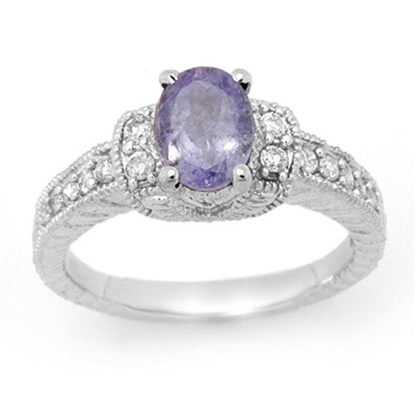 2.0 ctw Tanzanite & Diamond Ring 14k White Gold - REF-49H2R