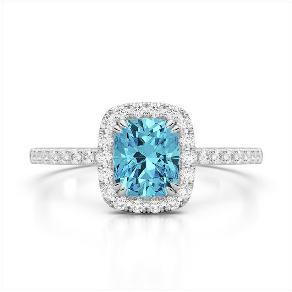 1.25 ctw Sky Blue Topaz & Micro Pave VS/SI Diamond Ring 10k White Gold - REF-25K9Y