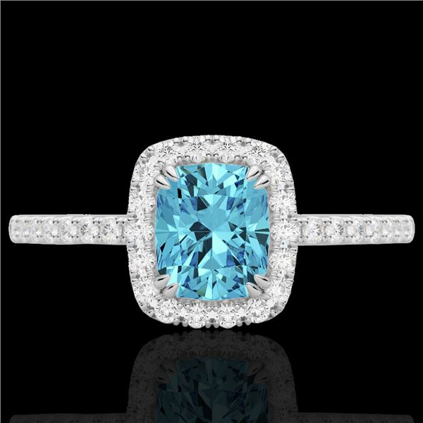 1.25 ctw Sky Blue Topaz & Micro Pave VS/SI Diamond Ring 10k White Gold - REF-25X9A