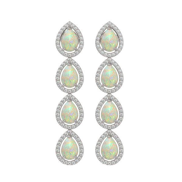 6.2 ctw Opal & Diamond Micro Pave Halo Earrings 10k White Gold - REF-148R9K