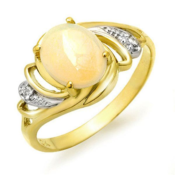 1.05 ctw Opal & Diamond Ring 10k Yellow Gold - REF-15F5M