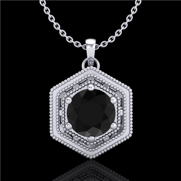 0.76 ctw Fancy Black Diamond Art Deco Stud Necklace 18k White Gold - REF-36R6K