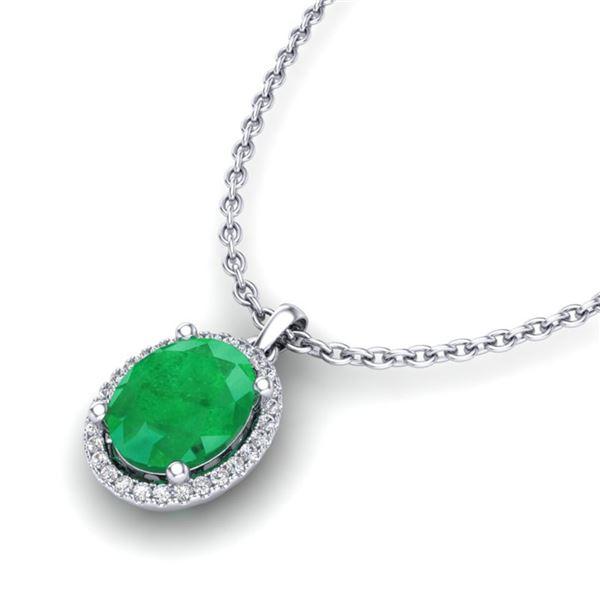3 ctw Emerald & Micro Pave VS/SI Diamond Necklace 18k White Gold - REF-51G4W