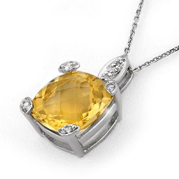 7.10 ctw Citrine & Diamond Necklace 14k White Gold - REF-27Y5X