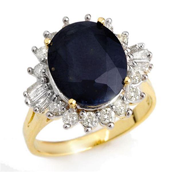8.99 ctw Blue Sapphire & Diamond Ring 14k Yellow Gold - REF-141N8F