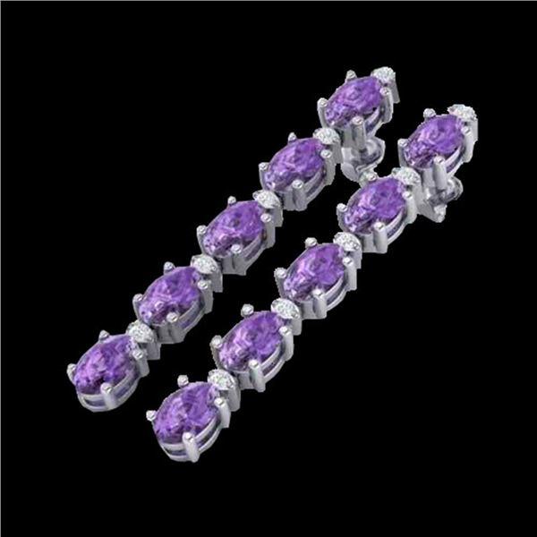 6 ctw Amethyst & VS/SI Diamond Certified Tennis Earrings 10k White Gold - REF-29F3M