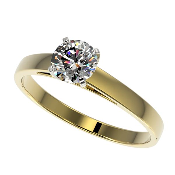 0.77 ctw Certified Quality Diamond Engagment Ring 10k Yellow Gold - REF-68M2G