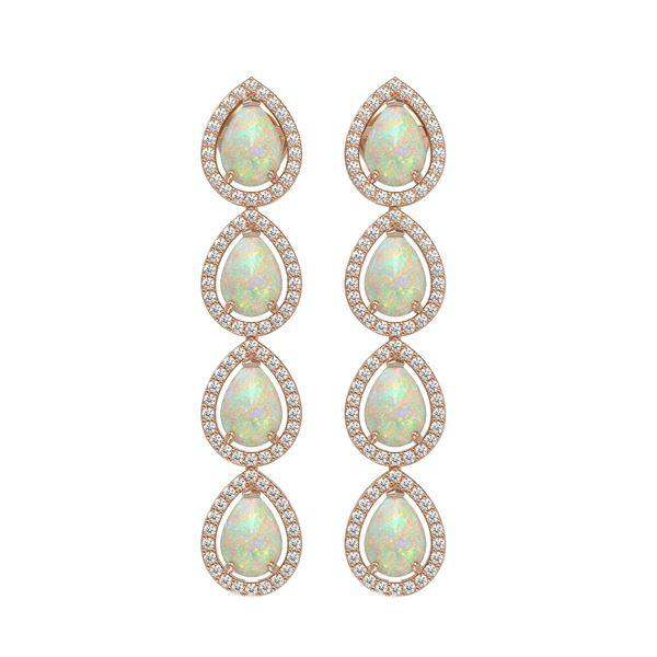 6.2 ctw Opal & Diamond Micro Pave Halo Earrings 10k Rose Gold - REF-148Y9X