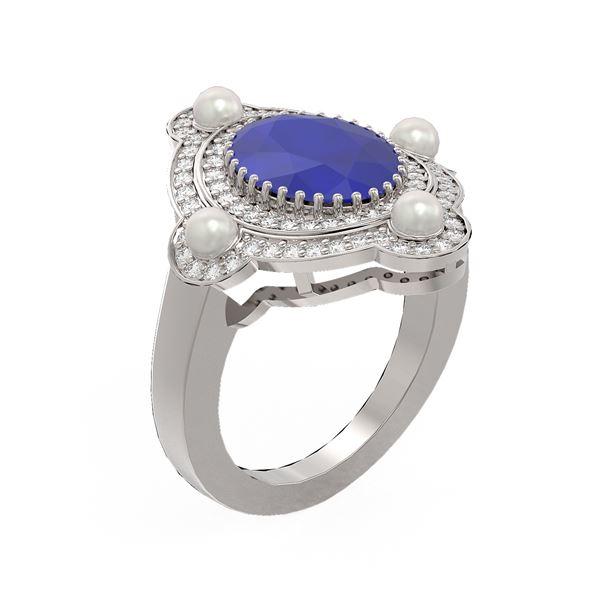 4.78 ctw Sapphire & Diamond Ring 18K White Gold - REF-161K8Y