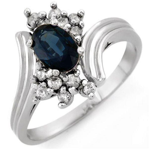1.0 ctw Blue Sapphire & Diamond Ring 18k White Gold - REF-32X9A