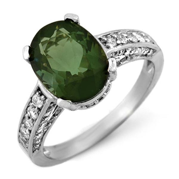 3.60 ctw Green Tourmaline & Diamond Ring 14k White Gold - REF-97N3F