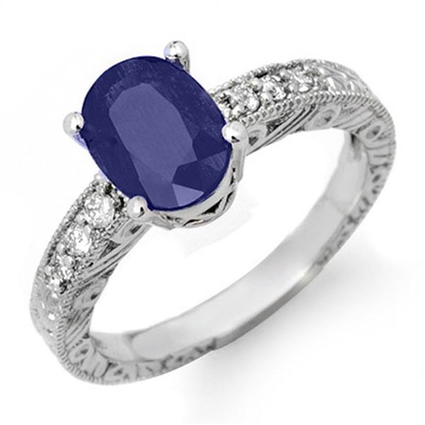 2.58 ctw Blue Sapphire & Diamond Ring 14k White Gold - REF-38W5H