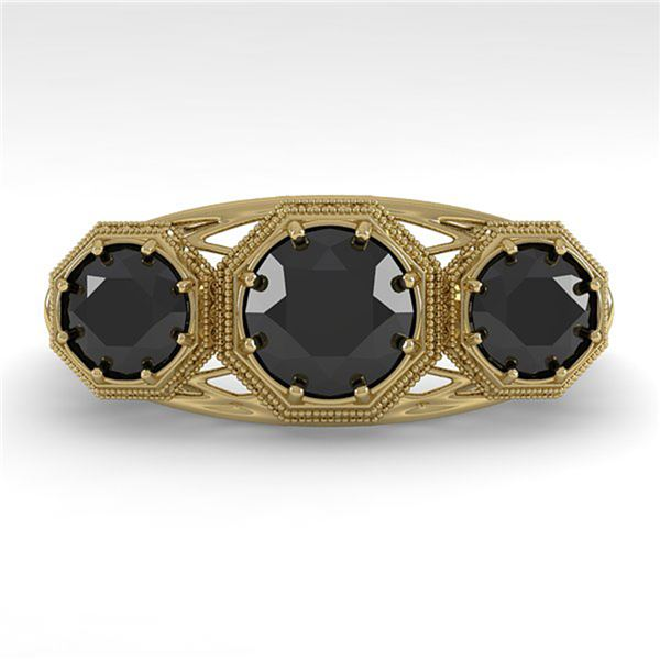 2 ctw Past Present Future Black Diamond Ring Art Deco 18k Yellow Gold - REF-90G4W