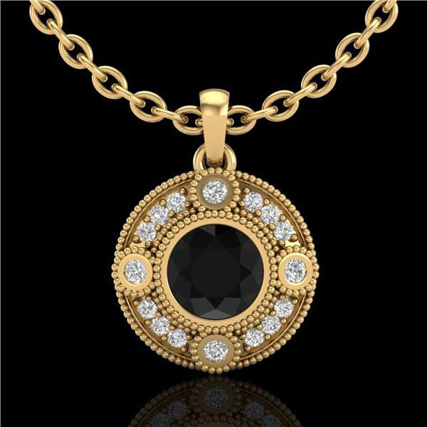 1.01 ctw Fancy Black Diamond Art Deco Stud Necklace 18k Yellow Gold - REF-53Y5X