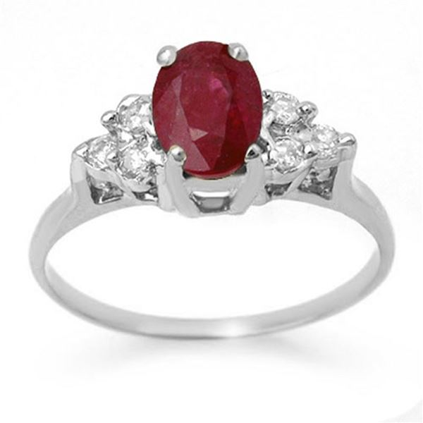 1.35 ctw Ruby & Diamond Ring 18k White Gold - REF-31A4N
