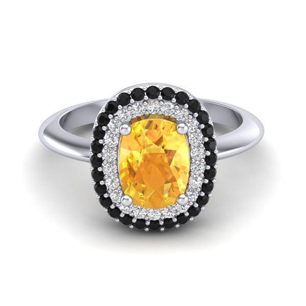 2.50 ctw Citrine With Black & White Micro Diamond Ring 14k White Gold - REF-49R5K