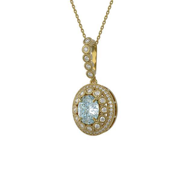 3.82 ctw Aquamarine & Diamond Victorian Necklace 14K Yellow Gold - REF-136A8N