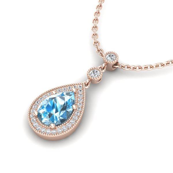 2.25 ctw Sky Blue Topaz & Micro Pave Diamond Necklace 14k Rose Gold - REF-37G3W