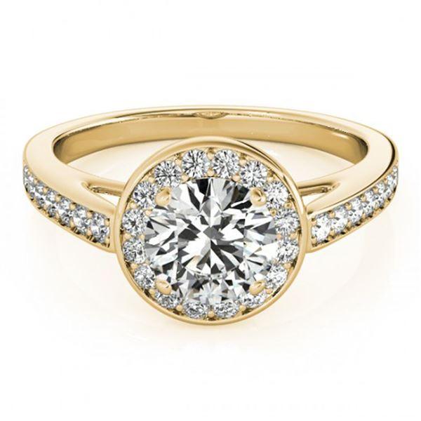 0.9 ctw Certified VS/SI Diamond Halo Ring 18k Yellow Gold - REF-91K5Y