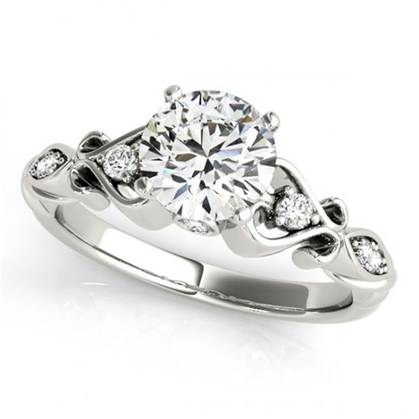 0.65 ctw Certified VS/SI Diamond Antique Ring 18k White Gold - REF-91R2K