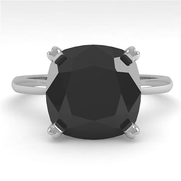 6.0 ctw Cushion Black Diamond Engagment Designer Ring 18k White Gold - REF-133N8F