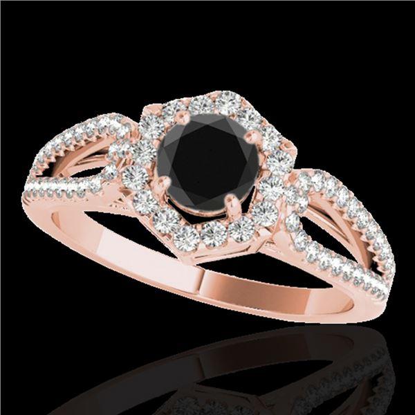 1.43 ctw Certified VS Black Diamond Solitaire Halo Ring 10k Rose Gold - REF-53R5K