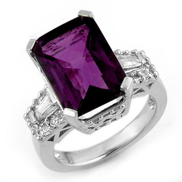 9.55 ctw Amethyst & Diamond Ring 14k White Gold - REF-105R5K