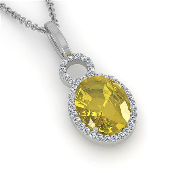 3 ctw Citrine & Micro Pave Halo VS/SI Diamond Necklace 14k White Gold - REF-33W8H