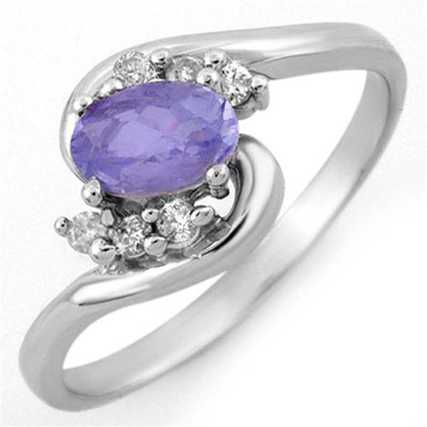 0.60 ctw Tanzanite & Diamond Ring 14k White Gold - REF-16X9A