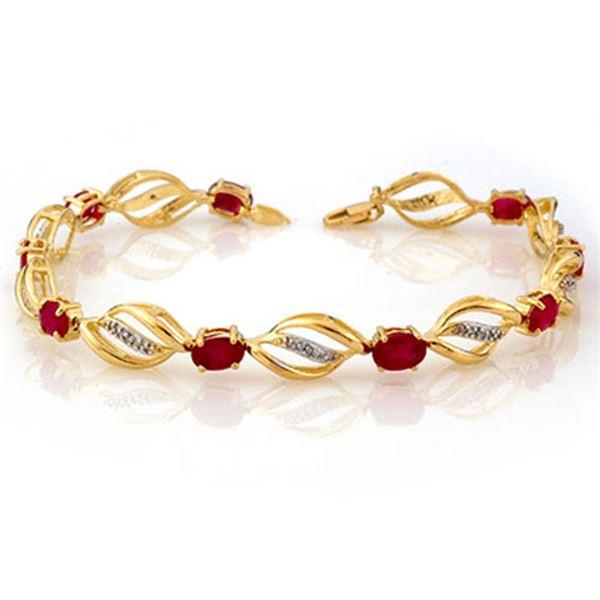 5.10 ctw Ruby & Diamond Bracelet 10k Yellow Gold - REF-55F2M