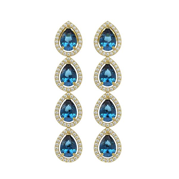 7.81 ctw London Topaz & Diamond Micro Pave Halo Earrings 10k Yellow Gold - REF-152F8M