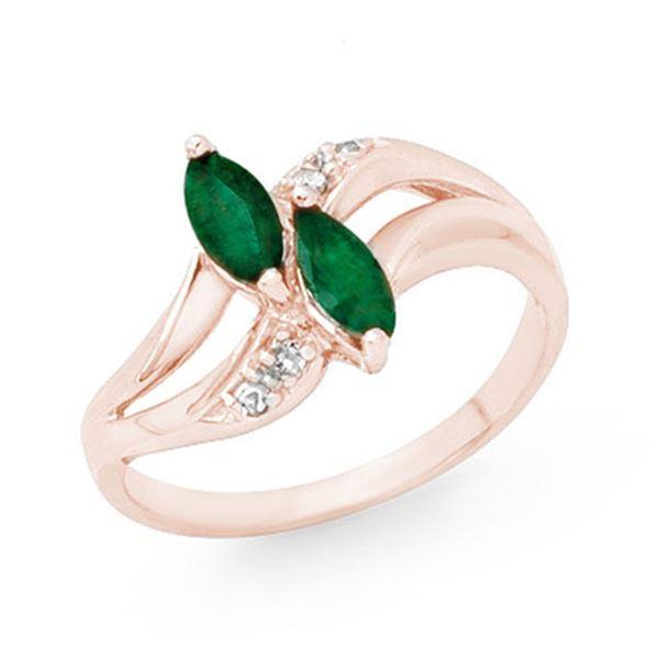 0.45 ctw Emerald & Diamond Ring 10k Rose Gold - REF-13K4Y
