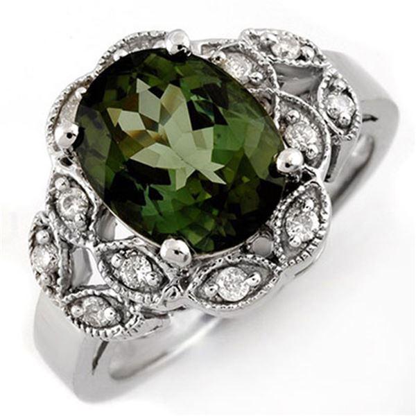3.75 ctw Green Tourmaline & Diamond Ring 10k White Gold - REF-51W9H
