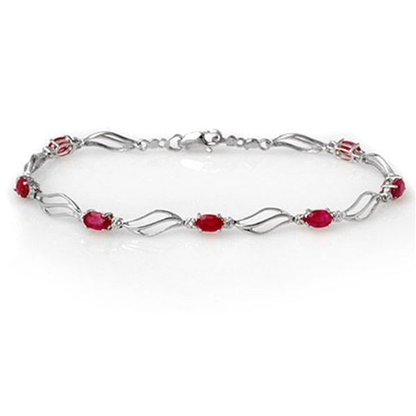3.02 ctw Ruby & Diamond Bracelet 10k White Gold - REF-40F9M