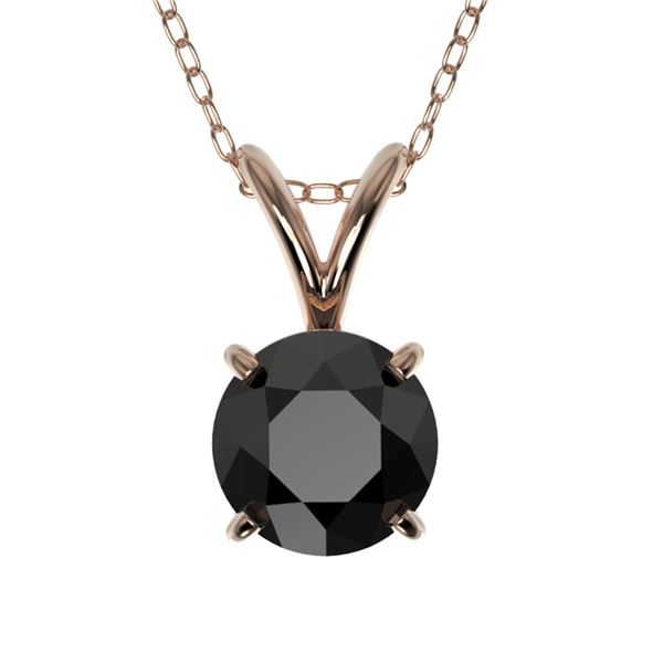 0.75 ctw Fancy Black Diamond Solitaire Necklace 10k Rose Gold - REF-18H4R