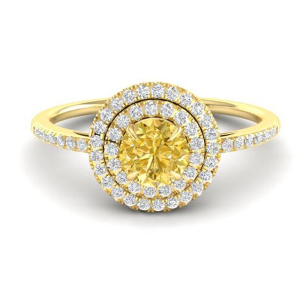 1 ctw Citrine & Micro VS/SI Diamond Ring Halo 18k Yellow Gold - REF-47W5H