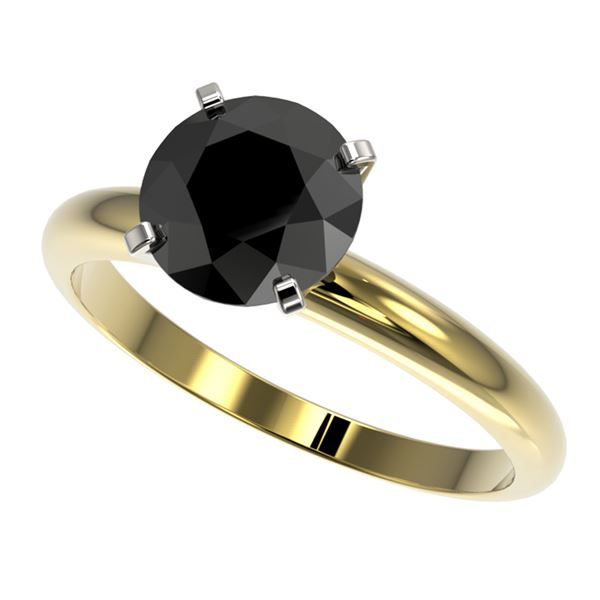 2 ctw Fancy Black Diamond Solitaire Engagment Ring 10k Yellow Gold - REF-35M6G