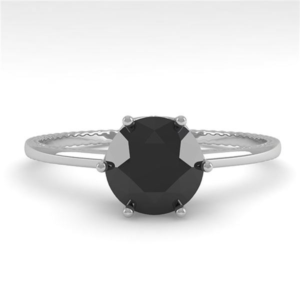 1.0 ctw Black Diamond Solitaire Engagment Ring 18k White Gold - REF-44Y3X