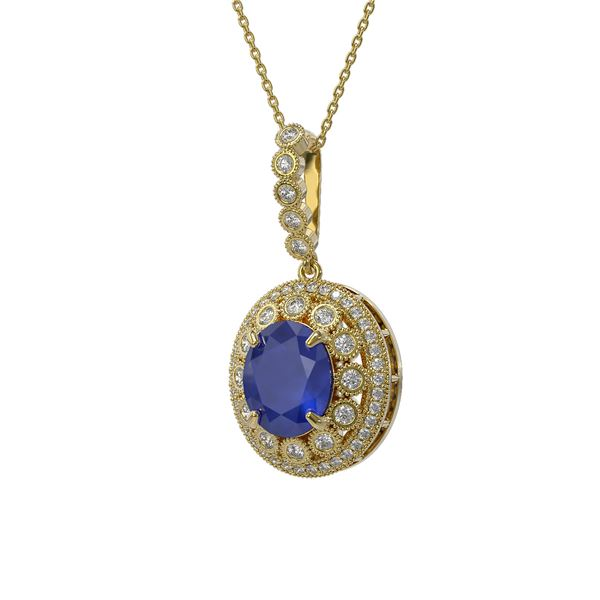 8.66 ctw Sapphire & Diamond Victorian Necklace 14K Yellow Gold - REF-192X2A