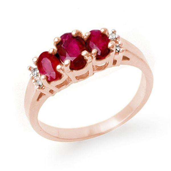 1.18 ctw Ruby & Diamond Ring 18k Rose Gold - REF-40W9H
