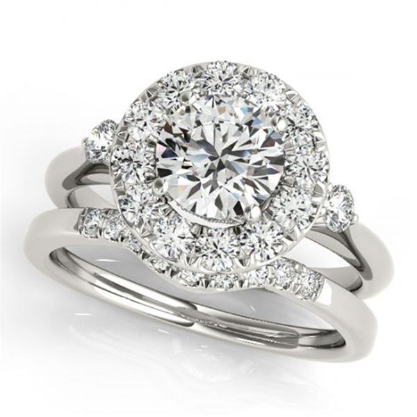 1.12 ctw Certified VS/SI Diamond 2pc Wedding Set Halo 14k White Gold - REF-118K6Y