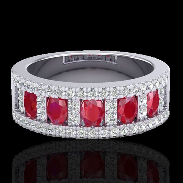 2.34 ctw Ruby & Micro Pave VS/SI Diamond Designer Ring 10k White Gold - REF-55F2M