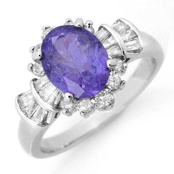 2.90 ctw Tanzanite & Diamond Ring 18k White Gold - REF-125F5M